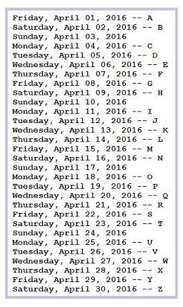 a-z schedule 2016