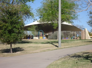 Canopy-shielded play area.
