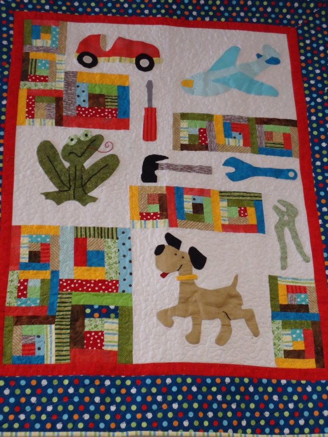 A mother made a quilt for her son with images of things important to her husband as a boy.