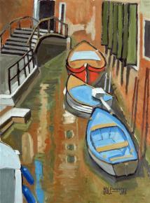 Boats in a Venetian Canal