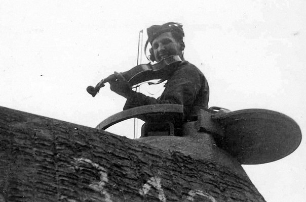German soldier playing violin