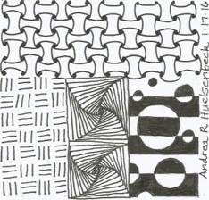 "This is my favorite. I like the mix of patterns. The center one is called ""paradox."""