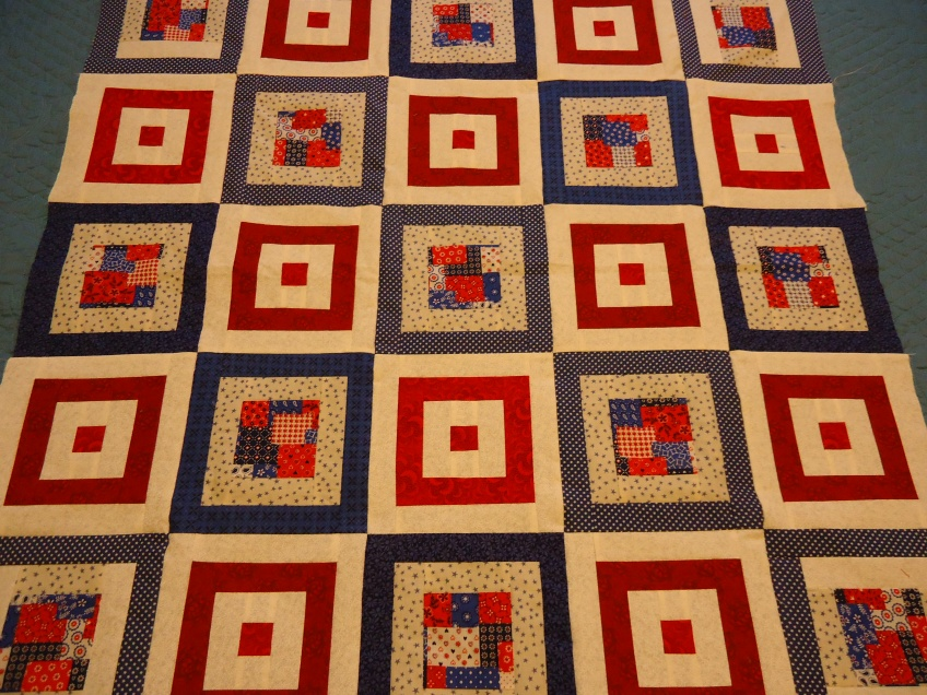 Red, white, and blue quilt I made for my church's quilt ministry.