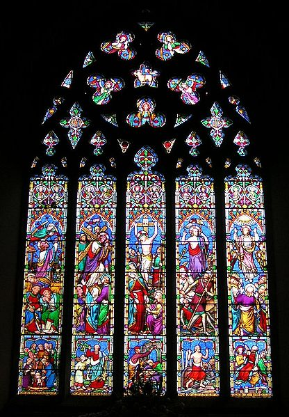 Chilham, Kent UK, Chancel window, Passion of Christ with scenes from Old Testament