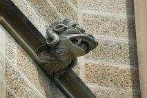 stone scuplture beastie with rams horns