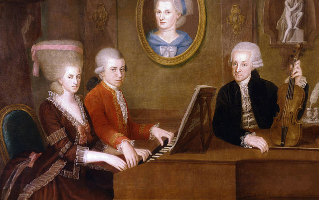 The Mozart family: Nannerl, Wolfgang, and Leopold (mother's portrait on wall)