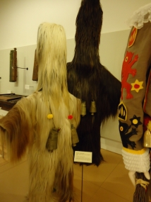 Kukeri costume, Bulgarian. Male dancers go house to house wearing these bell-adorned costumes, bringing good health and luck to their neighbors.