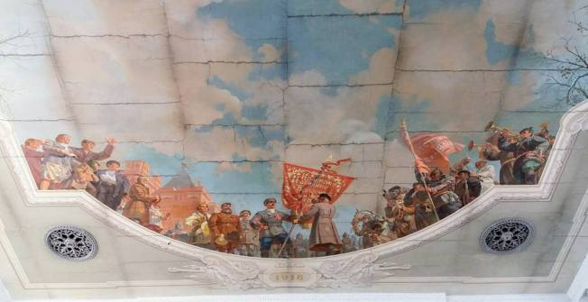 Railroad station ceiling mural depicting the 1918 Russian Civil War. — in Volgograd, Russia.