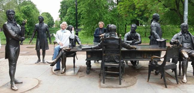Statues of the architects of landmarks in a park in St. Petersburg