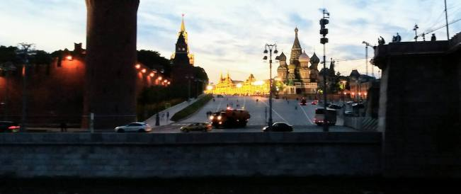 View of Kremlin and St. Basil from cruise ship