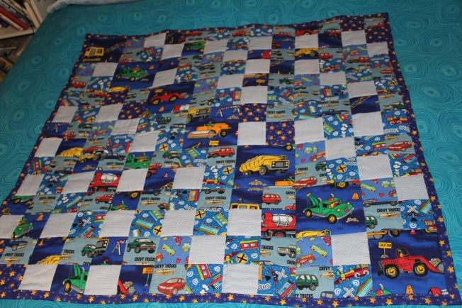 Five little quilts arhtistic license for Little blue truck fabric