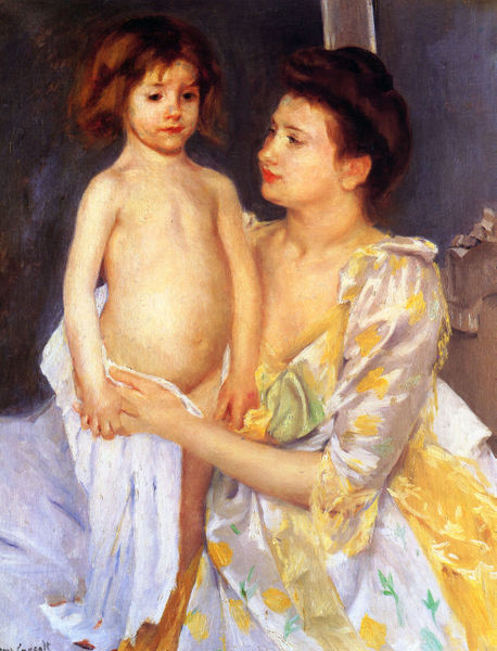458px-Cassatt_Mary_Jules_Being_Dried_by_His_Mother_1900