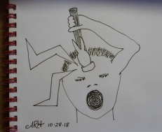 Inktober, Inktober2018, pounding headache