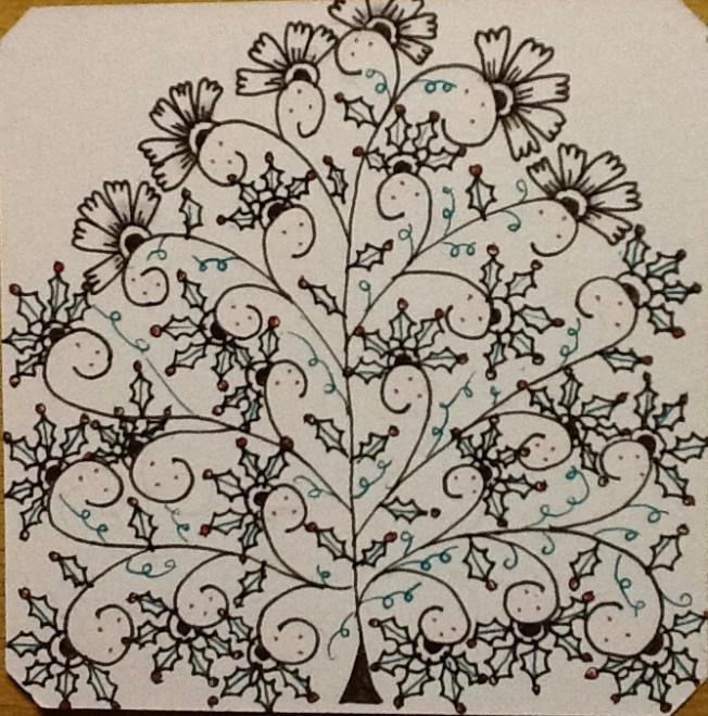 Zentangle, henna drum, holly