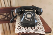 Old-fashioned dial telephone.
