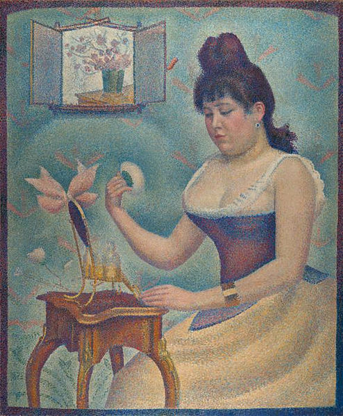 494px-Georges_Seurat,_1889-90,_Jeune_femme_se_poudrant_(Young_Woman_Powdering_Herself),_oil_on_canvas,_95.5_x_79.5_cm,_Courtauld_Institute_of_Art
