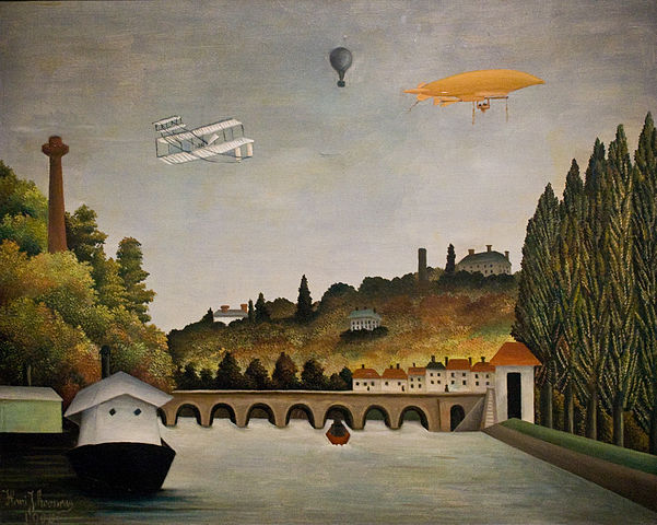 Henri Rousseau, View of the Bridge in Sevres and the Hills of Clamart, Saint-Cloud and Bellevue with biplane, balloon and dirigible