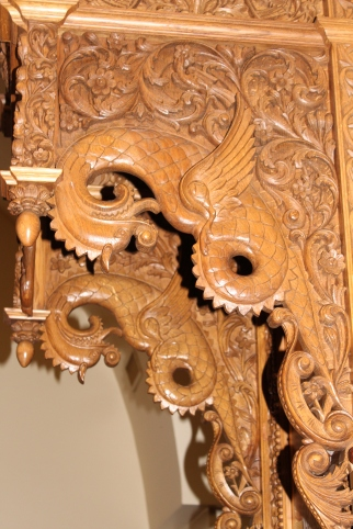 Intricate carving on the bishop's throne
