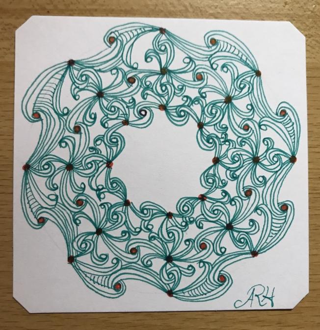 Zentangle; Christmas wreath