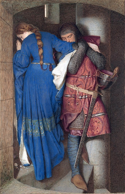 512px-Hellelil_and_Hildebrand,_the_meeting_on_the_turret_stairs,_by_Frederic_William_Burton